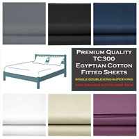 TC300 Egyptian Cotton Sateen FITTED BED SHEET 100% Egyptian Cotton Fitted Sheet