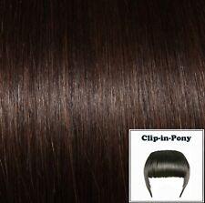 Clip-In-Pony dunkelbraun #02, Premium-Haarpony, Remy-Echthaar, human hair fringe