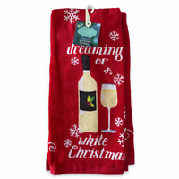 Wine Lovers Kitchen Towels Dreaming of A White Christmas Set of 2 St Nicholas Sq