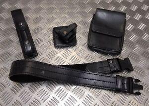 Genuine MoD Military Forces / Police Black PWL Leather 4pc Duty Belt Set PBHC01X