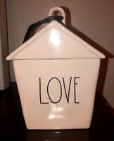 "NEW RAE DUNN ""LOVE"" IVORY CERAMIC LL COOKIE JAR CANISTER HTF 2020"