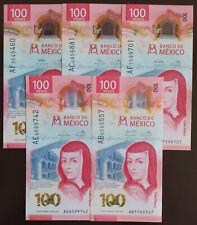 MEXICO 2020 $100 SOR JUANA + NEW POLYMER + 5 SIGNATURES SET see img. read descr.