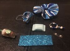 LPS: Blue White Striped Outfit Bow Collar Sweet Laptop Starbucks-Accessory Lot
