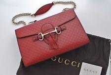 Authentic New GUCCI Emily Dark Red Guccissima Leather w/ Chain Shoulder Strap