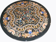 """52"""" round black Marble coffee / sofa multi stones inlay Table Top marquetry art"""