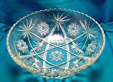 Glass Serving Bowl Lg Prescut  EAPG Star of David Starburst Anchor Hocking Vtg