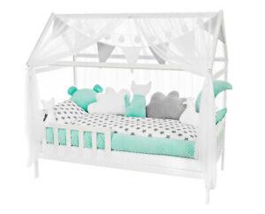 Kinderbett Haus Bett 160x80 cm Holz Juniorbett Matratze Kissen Bettset STERNE