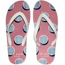 Ted Baker Shadow Stones Print Rubber Flip Flops, White/Purple