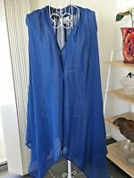 Ladies Top Blue Autograph Label Sz 22 Sleeveless Sheer VGUC
