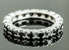14K White Gold Black Diamond Eternity Band - Size 7