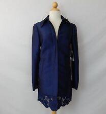 PER SE BLUE SILK TOPPER JACKET DRESS EYELET TRIM size 2  NEW $695