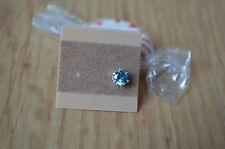 SINGLE EARRING One 0.72ct Bright Blue Zircon Solitaire Sterling Silver 5 x 4.5mm