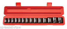 "15pc 1/2"" Drive Shallow Impact Socket Set METRIC (11-32mm) Cr-V PRO GRADE-NEW"
