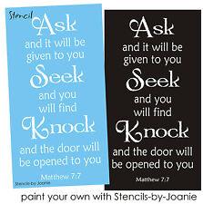 Joanie Inspirational Stencil Ask Seek Knock Door Open Bible verse Family Sign