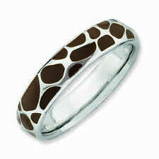 Silver Stackable Ring 4.50 mm Brown Enameled Animal Print, Fashion Ring, QSK583