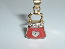 14K GOLD RED ENAMEL DIAMOND PURSE HANDBAG CHARM PENDANT