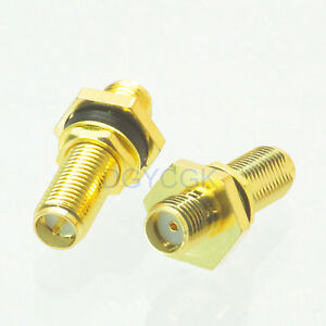 10pcs Conversion Adapter RP*SMA female nut bulkhead to SMA female for Antenna