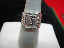 """STERLING SILVER """"T"""" SIGNET RING WITH FILIGREE DESIGN"""
