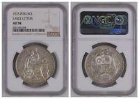 NGC Peru 1925 Un Sol Large Letters Silver Coin Nice Lustre AU58