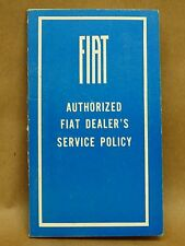Vintage Fiat Dealer Service Policy Book Booklet 1960's Maintenance Coupon