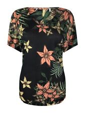 NEW Ex M&S Ladies Black Floral Casual Summer V Neck Tunic Top Size 10 - 22