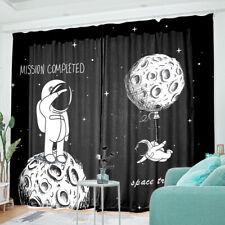 Astronaut Space 2PCS Blackout Curtain Panels Living Room Bedroom Window Drapes