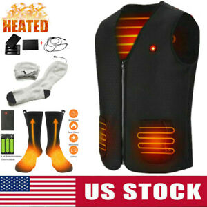 Electric Heated Vest USB Thermal WarmUp Heating Socks Body Warmer Clothes Jacket