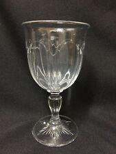 Antique! EAPG Clear Glass Art Deco Style  Pattern Star Base Water Wine Goblet