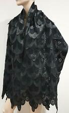 KERRY GRIMA Women's Black Suede & Leather Layered Large Scarf Shawl