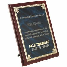 ROSEWOOD PLAQUE WITH BLUE/GOLD ALUMINIUM FRONT - 10in