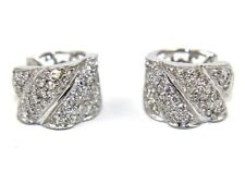 Round Diamond Pave Huggie Lady's Snap Earrings 18K White Gold .75Ct
