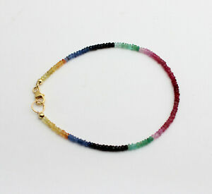 Ruby Sapphire Emerald Bracelet Gemstone Regenbogenarmband Colourful Ladies Noble