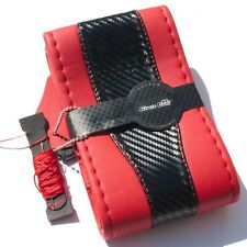 Red & Carbon Style PVC Leather Steering Wheel Stitch Wrap w/Thread Size M 47021a