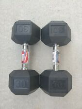 Brand New 30 LB Rubber Hex Dumbbells Set Pair Weider  **Ships Same Day**