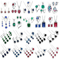 Wedding 925 Silver Jewelry Set Necklace Earring Ring Emerald Bridal Gift Gems