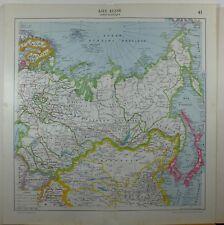 1929 original map ~ La Russia in ASIA MONGOLIA Giappone REPUBBLICA SOCIALISTI