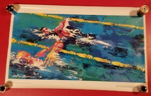 "LeROY NEIMAN 1976 OLYMPICS USA SWIMMING POSTER - BURGER KING PROMO 14""X23"""