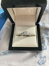 0.50ct Real Diamond Princess And Brilliant Cut Cluster Ring White Gold Size J