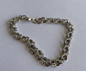 Vintage 925 Silver Double Link Chain Bracelet 7.5 Inch 7.4 Grams