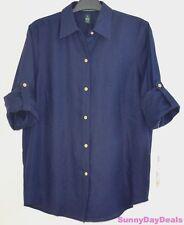 Ralph Lauren Womens Shirt Linen Long Sleeve Roll Tab Blue Solid Blouse Top S