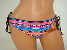 Joe Boxer Swimwear Suit Bikini Bottom String Tie Blue Aztec Stripe Medium NEW