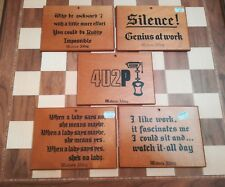 5 x English Souvenir Woburn Abbey Vintage Humorous Wooden Plaques