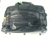 TUMI Expandable Great Vintage Authentic Black Leather Briefcase Messenger Bag