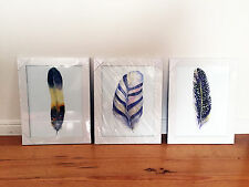 3 x Feather Watercolour Art Prints 2 Missy Joelle Scandi Style Framed Poster