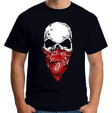 Velocitee Mens T-Shirt Cowboy Bandit Skull with Bandana Outlaw V225
