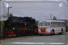 Locomotiva a vapore 99786 - Autobus - Targa di latta - 30 x 20 cm (B 920)