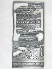 04C30 ANCIEN TAMPON MATRICE IMPRIMERIE PUBLICITÉ TRACTEUR AGRICOLE RENAULT 1930
