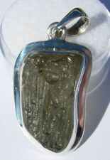 New listing About 23.62 carats Moldavite Pendant 32x18x5mm set in solid .925 silver
