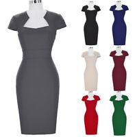 Dress Elegant Pencil Sleeve Formal Retro Vintage Womens Party Cap Work Bodycon