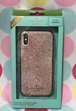 NEW KATE SPADE FLEXIBLE TINTED GLITTER PHONE CASE for iPhone X IN ROSEGOLD
